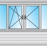 Балкон ПВХ Двустворчатые профиль 58мм стеклопакет 24мм, Уфа